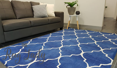 Neptune Blue Moroccan Lattice Loop Pile Rug