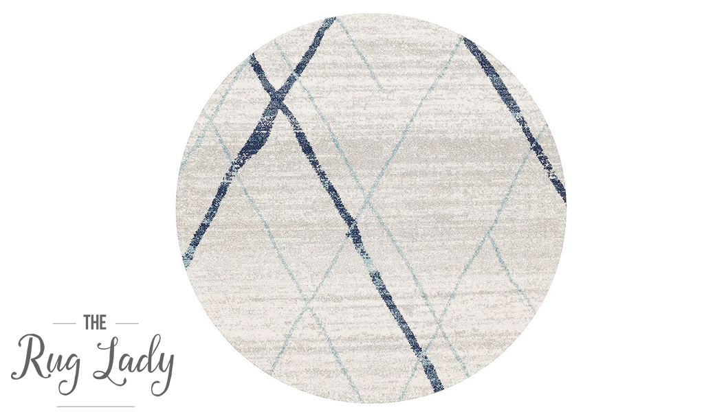 Heaven Blue Grey Abstract Diamond Round Rug