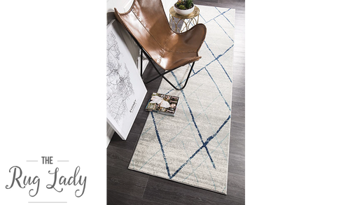 Heaven Blue Grey Abstract Diamond Hallway Runner