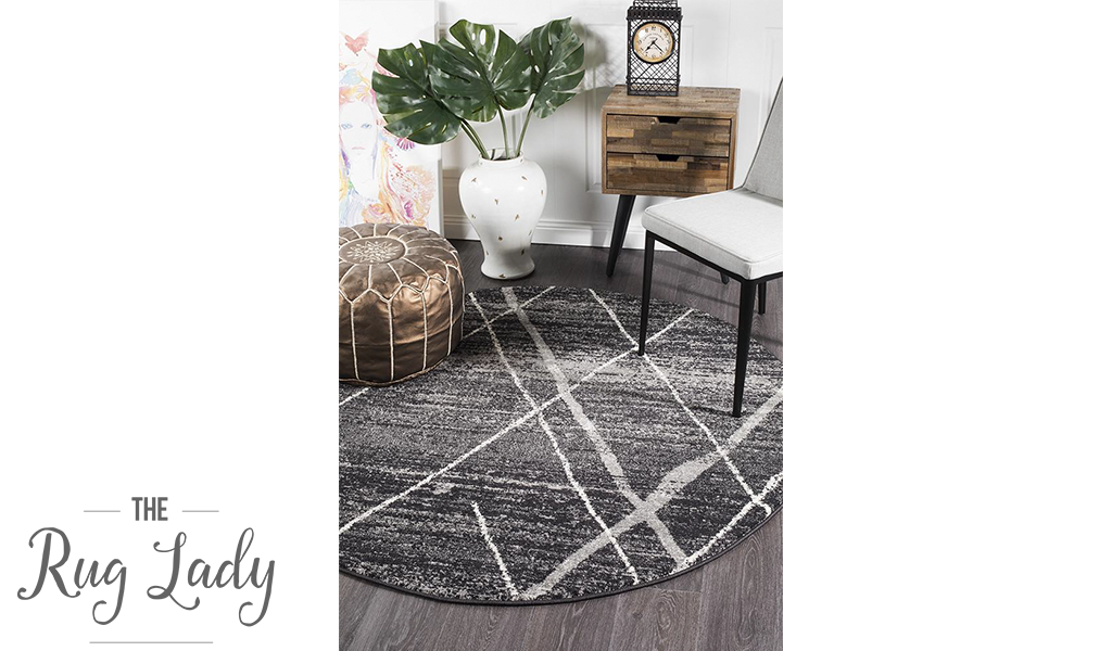 Heaven Charcoal Grey Abstract Diamond Round Rug
