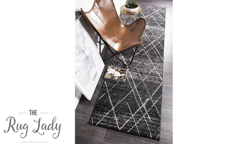 Heaven Charcoal Grey Abstract Diamond Hallway Runner