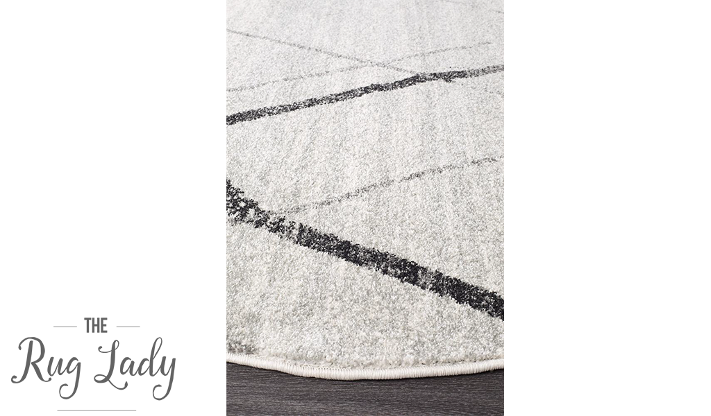 Heaven Grey Abstract Diamond Round Rug