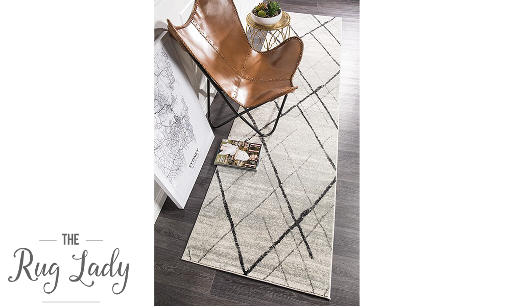 Heaven Grey Abstract Diamond Hallway Runner