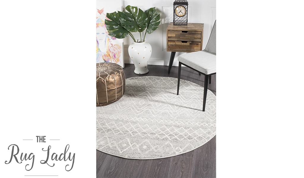 Heaven Grey Diamond Tribal Round Rug