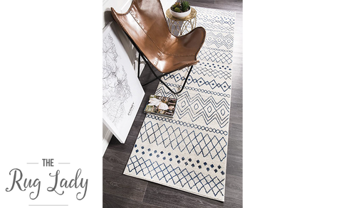Heaven Ivory Blue Tribal Pattern Hallway Runner