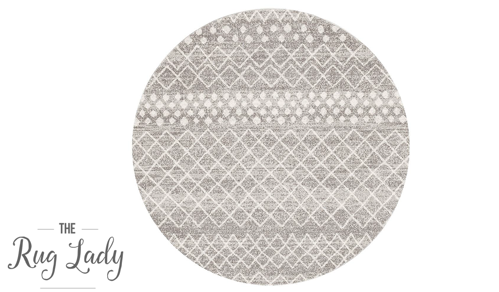 Heaven Silver Tribal Diamond Round Rug