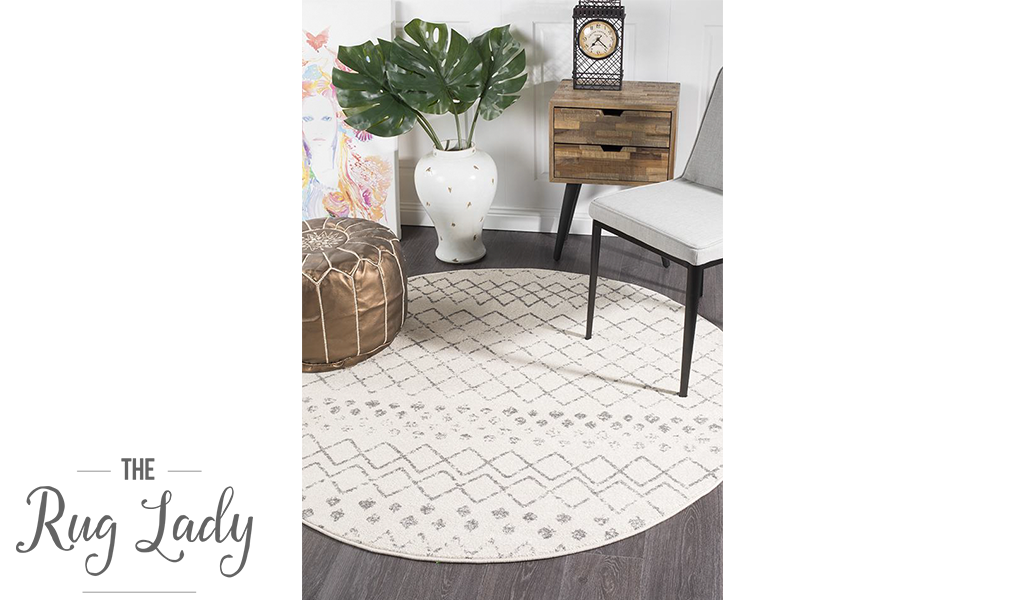 Heaven Ivory Grey Tribal Diamond Round Rug