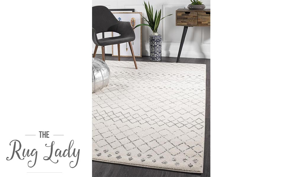 Heaven Ivory Grey Tribal Diamond Rug