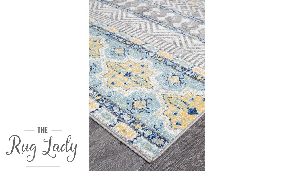 Heaven Blue Grey Geometric Diamond Rug