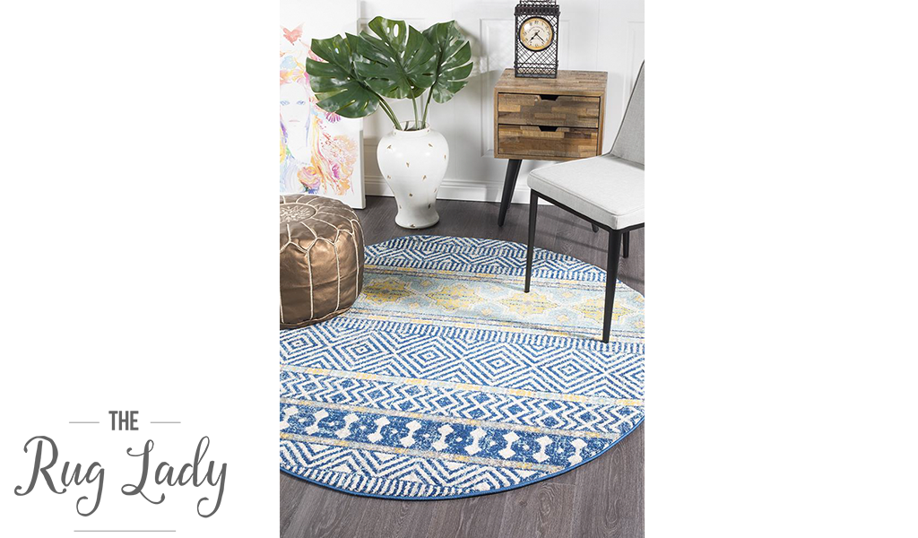 Heaven Navy Blue Tribal Bohemian Round Rug