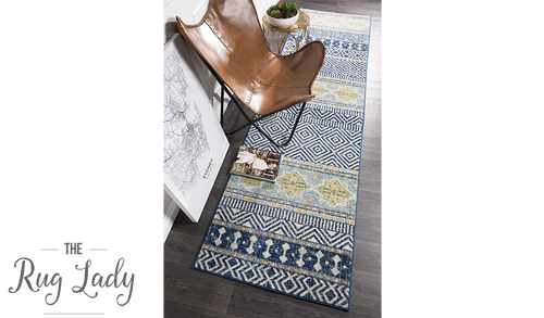 Heaven Navy Blue Tribal Bohemian Hallway Runner