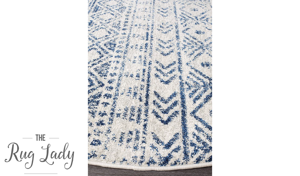 Heaven Blue Ivory Tribal Diamond Round Rug