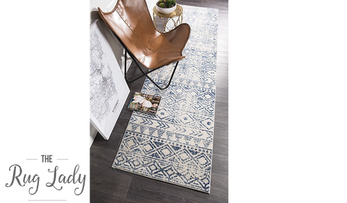 Heaven Blue Ivory Tribal Diamond Hallway Runner