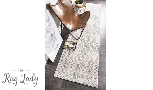 Heaven Grey Tribal Geometric Diamond Hallway Runner