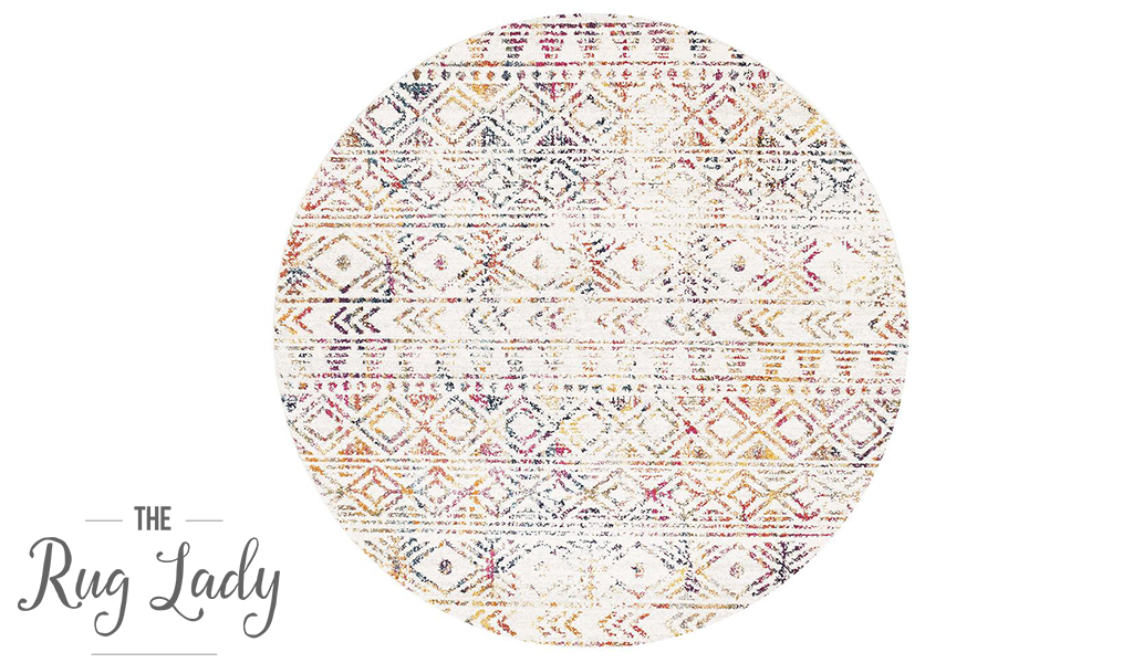 Heaven Multicolour Tribal Geometric Diamond Round Rug