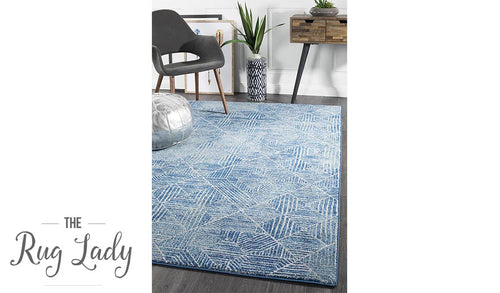 Heaven Navy Blue Geometric Diamond Rug