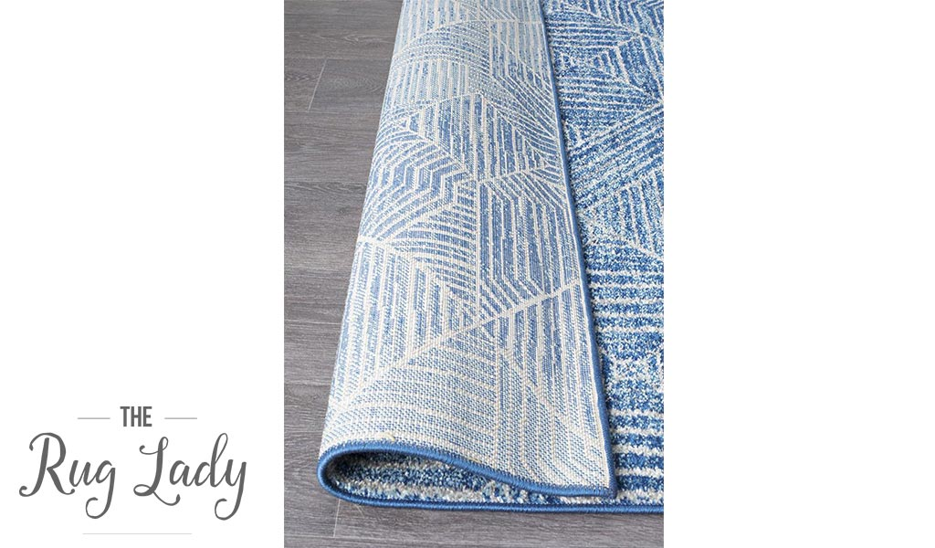 Heaven Navy Blue Geometric Diamond Hallway Runner