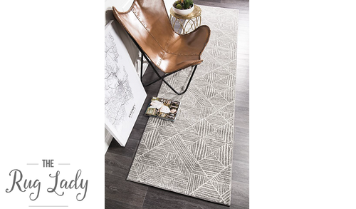Heaven Silver Geometric Diamond Hallway Runner