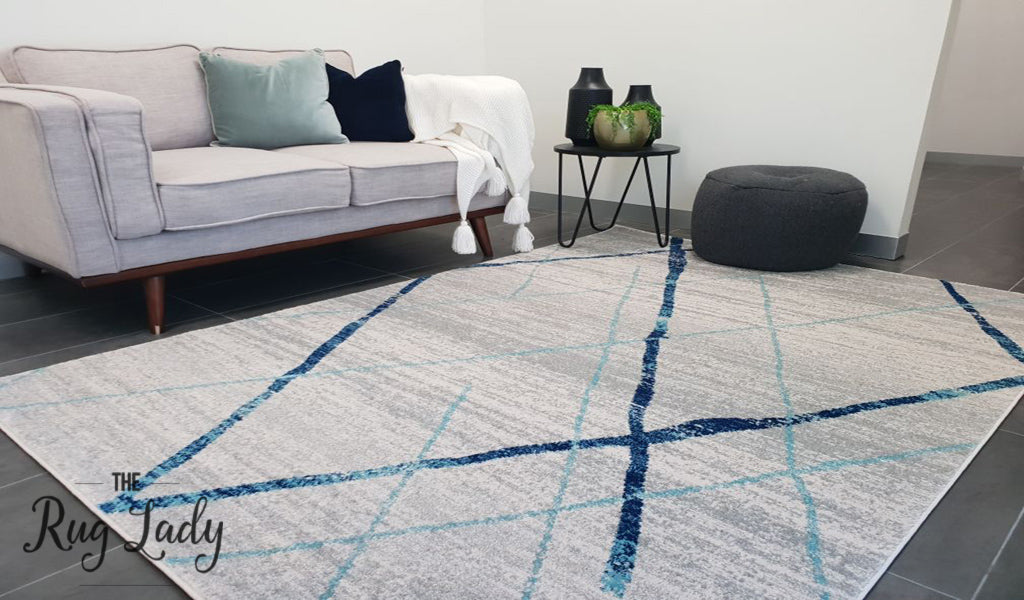 Heaven Blue Grey Abstract Diamond Rug