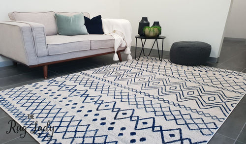 Heaven Ivory Blue Tribal Pattern Rug