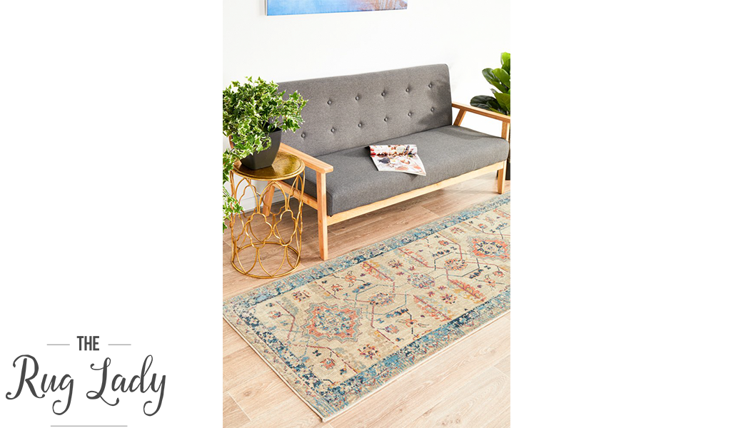 Odette Blue Beige Geometric Distressed Rug