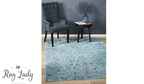 Opal Blue Ornate Rug