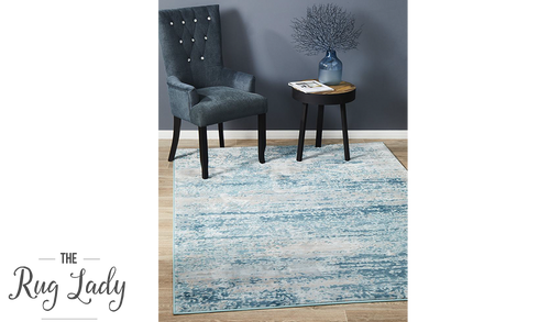 Opal Blue Cream Abstract Rug
