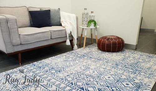 Heaven Blue Ivory Tribal Diamond Rug