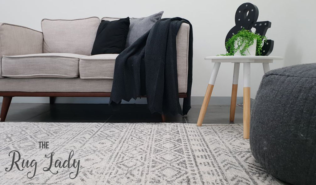 Heaven Grey Tribal Geometric Diamond Rug