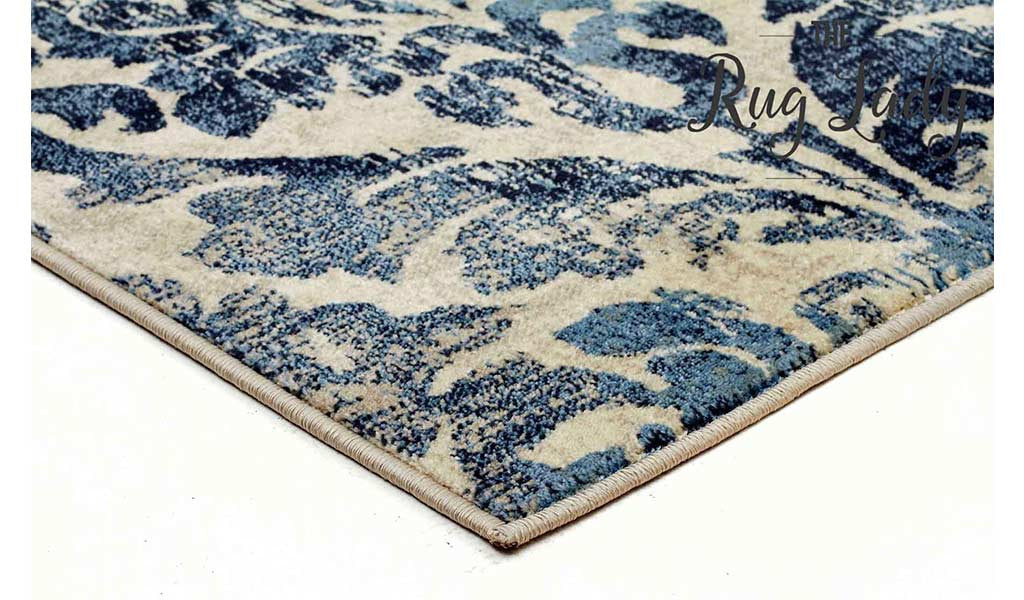 Finest Odyssey Blue Cream Damask Pattern Rug – The Rug Lady KL41