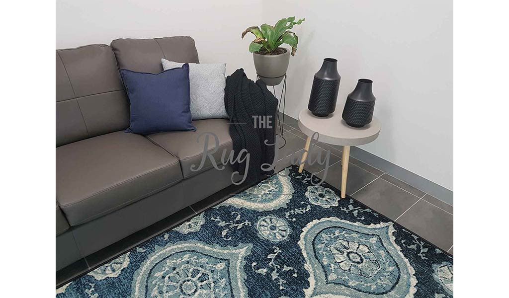Odyssey Navy Blue Peacock Ogee Pattern Rug