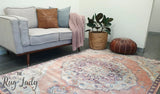 Odette Blush Beige Medallion Transitional Rug