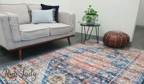 Ophelia Navy Blue Geometric Medallion Transitional Rug