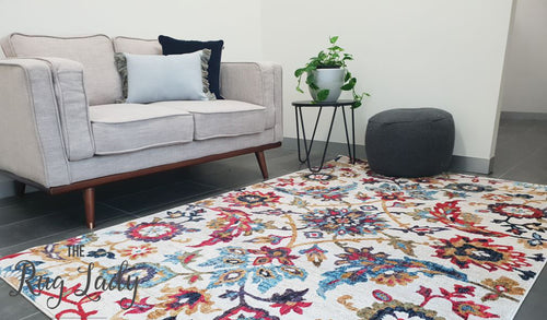 Ophelia Cream Blue Floral Transitional Rug