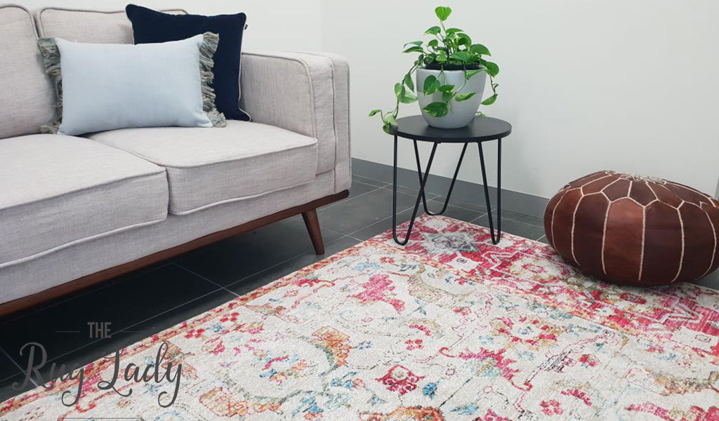 Ophelia Beige Fuschia Washed Out Floral Rug
