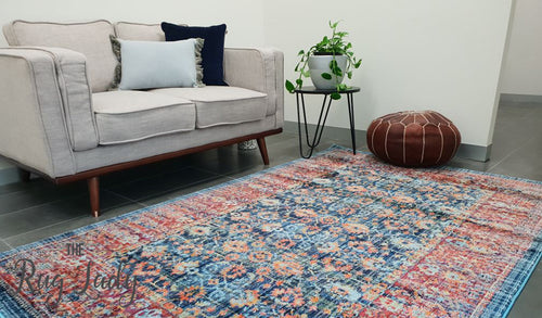 Ophelia Navy Blue Floral Border Transitional Rug
