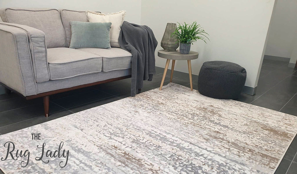 Opal Cream Grey Abstract Rug