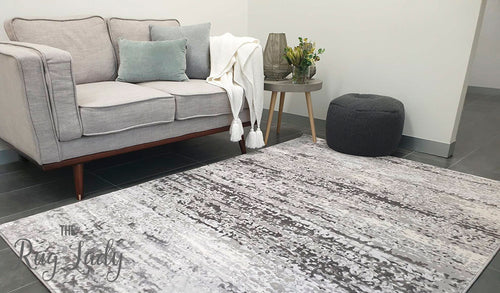 Opal Grey Silver Abstract Rug