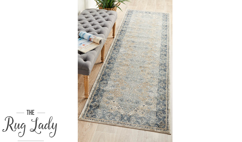 Grace Beige Blue Faded Wash Transitional Hallway Runner