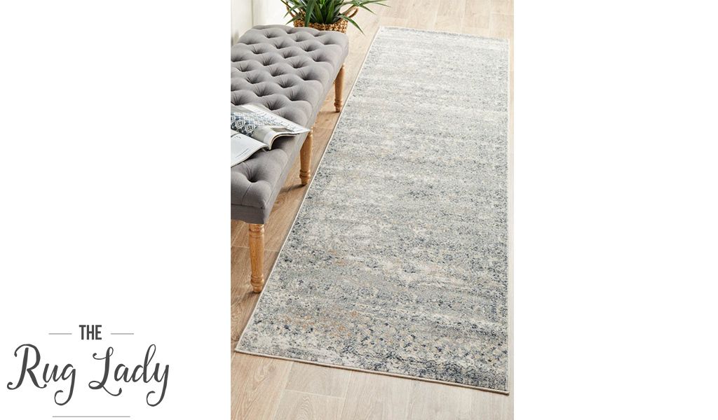 Grace Blue Faded Wash Transitional Hallway Runner