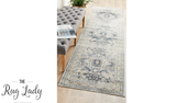 Grace Blue Medallion Faded Wash Transitional Hallway Runner