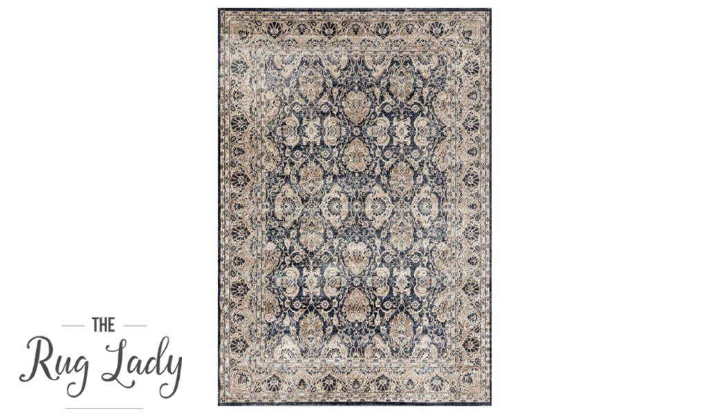 Grace Blue Oriental Faded Wash Transitional Rug