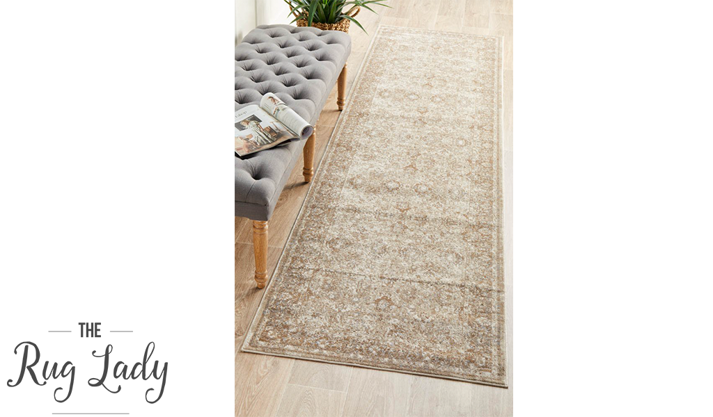 Grace Cream Oriental Faded Wash Transitional Hallway Runner