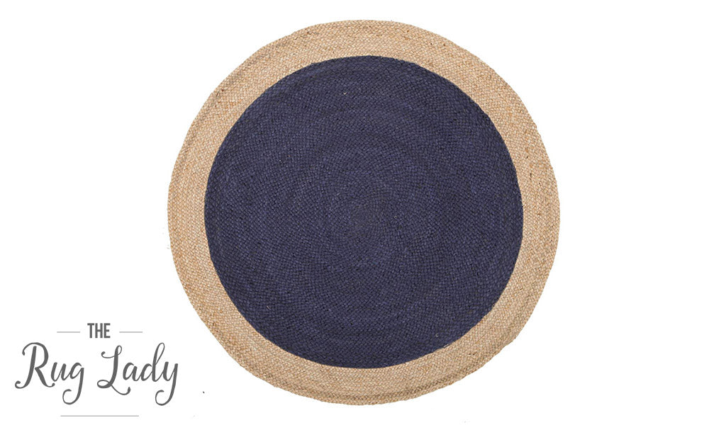 Polo Navy Blue Jute Round