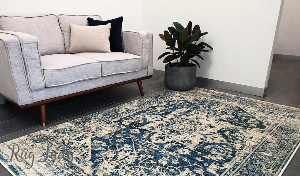 Raffy Blue Ivory Medallion Transitional Rug