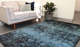 Raffy Blue Black Geometric Abrash Transitional Rug
