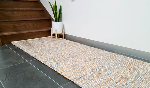 Rustic Natural White Hand Woven Runner Rug