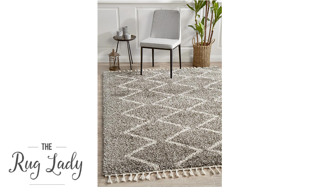 Saffia Natural Grey Zigzag Plush Boho Rug