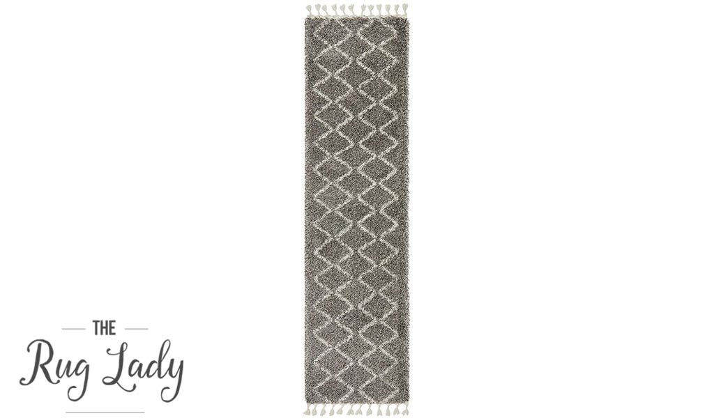 Saffia Natural Grey Zigzag Plush Boho Hallway Runner