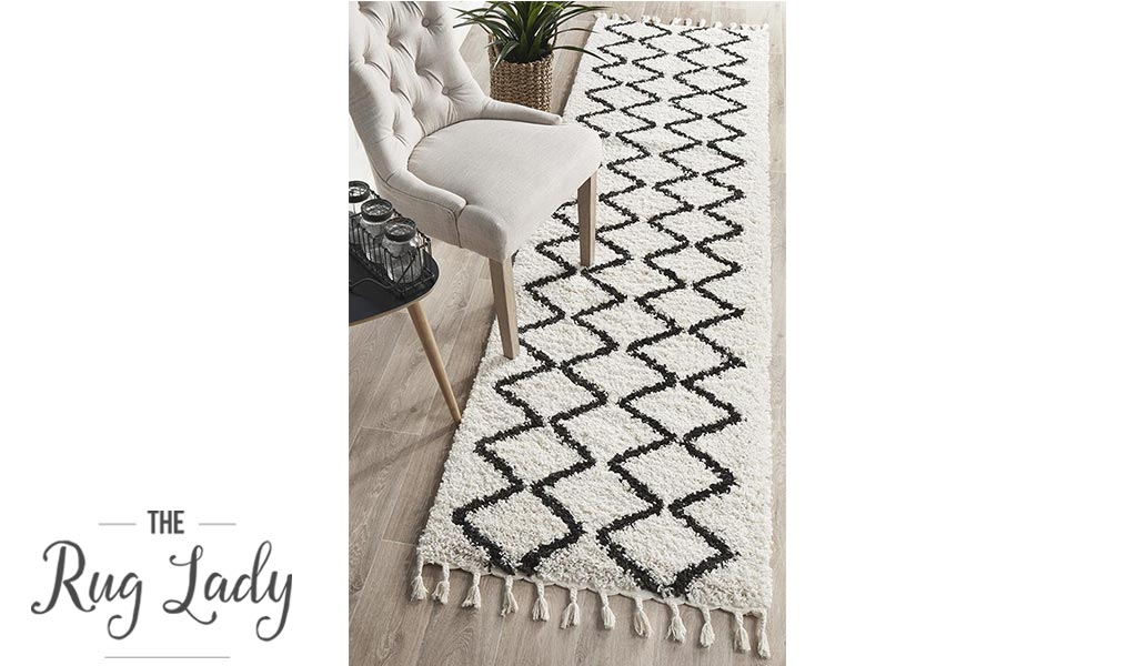 Saffia Natural Off-White Zigzag Brown Plush Boho Hallway Runner